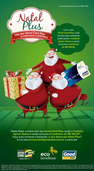 Natal solidário e premiado com cartão Plus da Ecobenefícios